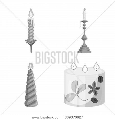 Isolated Object Of Paraffin And Fire Logo. Set Of Paraffin And Decoration Stock Vector Illustration.