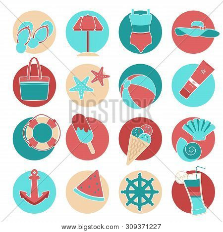 Flat Style Vector Icon Set. Set Of Colorful Beach Icons Swimsuit, Sea, Hat, Sunscreen, Tan, Cocktail