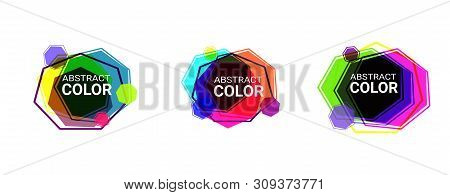 Set Of Abstract Modern Graphic Elements In Heptagon Shapes. Dynamical Colored Forms And Line. Abstra