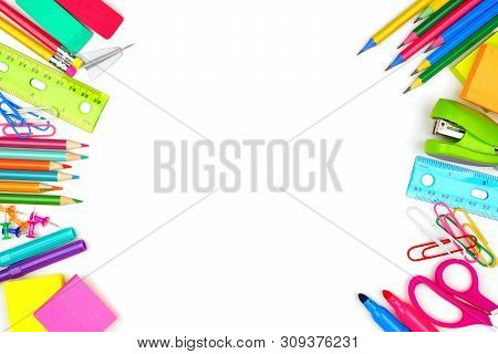 School Supplies Double Side Border. Top View Isolated On A White Background With Copy Space. Back To