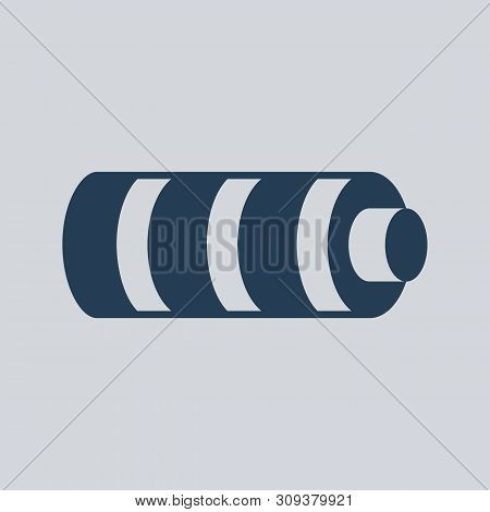 Battery Vector Icon. Black Silhouette Energy Power. Graphic Illustration Flat Design. Isolated On Wh