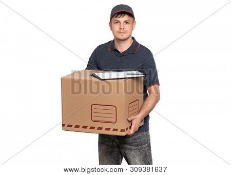 Portrait of Delivery man in cap holding cardboard box and clipboard with papers document. Handsome man looking on camera. Courier isolated on white background.