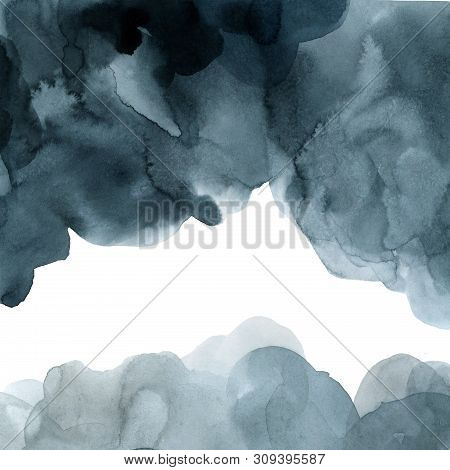 Indigo Blue  Watercolor Gradient Background Template For Design