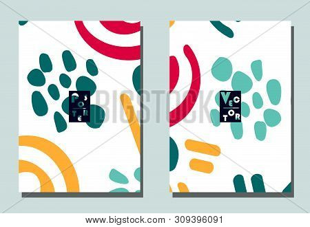 Cover with graphic elements - abstract shapes. Two modern vector flyers in avant-garde  style. Geometric wallpaper for business brochure, cover design. poster
