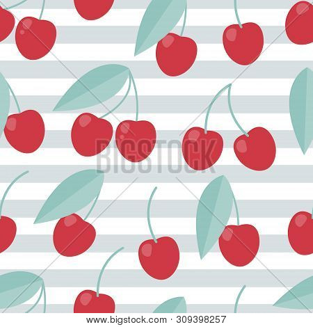 Cherry Seamless Pattern, Summer Background. Flat Design Style. Healthy Food.