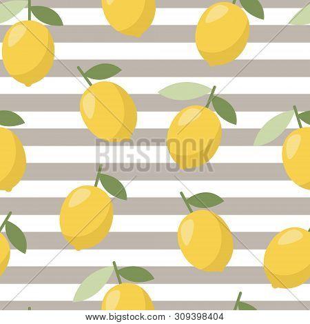 Summer Lemon Pattern, Design For Any Web, Print. Vector Line