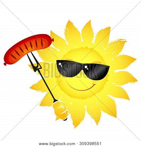 Sun Wearing Glasses With Grill Sausage In Hand