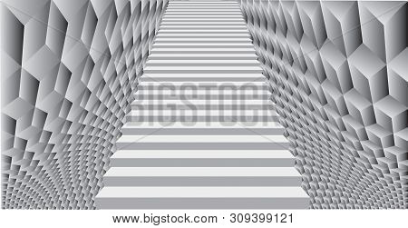 Abstract Background With Stairway. Noise Structure With Cubes. Vector Image