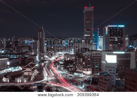 Night Seoul Landscape, South Korea. Landscape Of The Night City Of The Future. Night City With A Lot