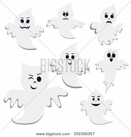 Set Of Different Pose Cartoon Ghost Isolated On White Background. Ghost Creepy Funny Cute Character.