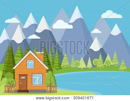 Spring Or Summer Lake Landscape Scene: Wooden Rural Farm House With Chimney, Attic, Green Trees, Spr