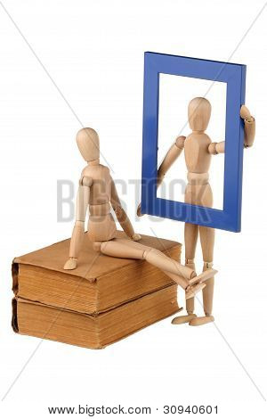 Two Dummy, Old Books And Photo Frame