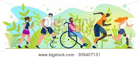 Marathon For People With Disabilities Cartoon Flat. Summer International Competitions For People Wit