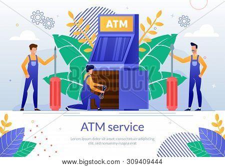 Bank Atm Repair Service Flat Vector Banner Template With Servicemen Or Repairman In Uniform, Making