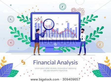 Financial Analysis Online Service Flat Vector Banner With Business Analyst Team Working Together To