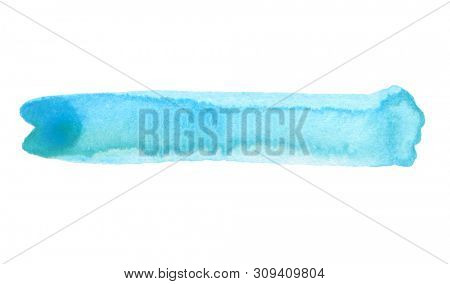 Abstract watercolor and acrylic line brush stroke blot painting. Blue  and turquoise Color design element. Texture paper. Isolated on white background.