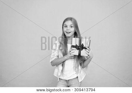 Birthday Wish List. Happiness And Joy. Happy Birthday Concept. Pleasant Surprise. Girl Kid Hold Birt