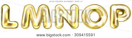 Golden Foil Inflated Alphabet Symbols, Isolated Letters L-m-n-o-p
