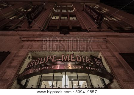 Toronto, Canada - November 14, 2018: Groupe Media Tfo Logo On Their Heaquarters At Night. Television