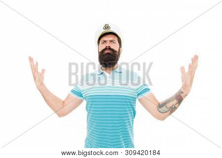Captain Concept. Bearded Man Captain Of Ship. Sea Cruise. Lord Of The Seas. Travel Concept. Summer V