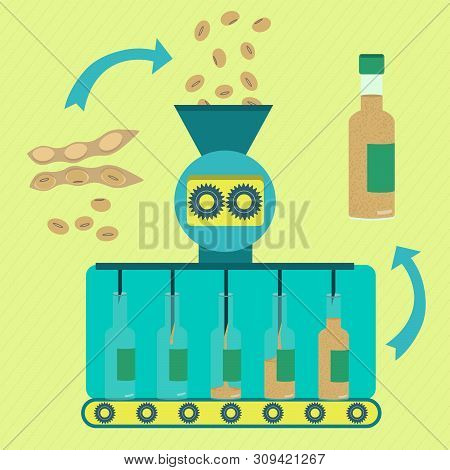 Soy Sauce Line Series Production. Factory Of Soy Sauce. Soy Beans Being Processed. Bottled Soy Sauce