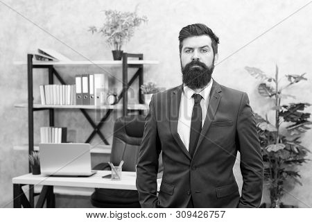 Office staff. HR director. HR management. HR job description. Head of human resources department. Man bearded serious office background. Provide consultation to management on strategic staffing plans. poster