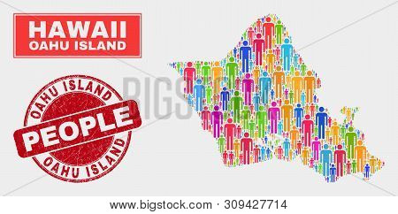 Demographic Oahu Island Map Abstraction. People Bright Mosaic Oahu Island Map Of Persons, And Red Ro