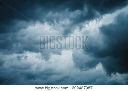 Dramatic Cloudscape Texture. Dark Heavy Thunderstorm Clouds Before Rain. Overcast Rainy Bad Weather.
