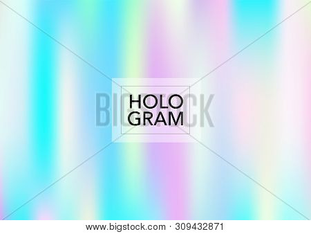 Girlie Hologram Gradient Vector Background. Luxury Trendy Dreamy Pearlescent Color Overlay. Vibrant