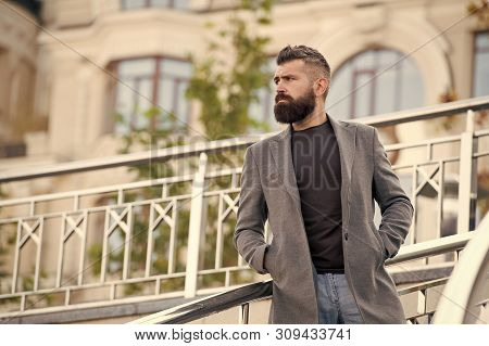 Casual And Comfortable Outfit For Autumn Date. Man Bearded Hipster Stylish Appearance Waiting Someon