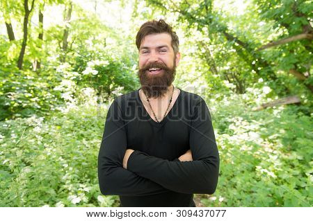Immersing Himself In A Vacation In Close Contact With Nature. Bearded Man Enjoying Summer Vacation.