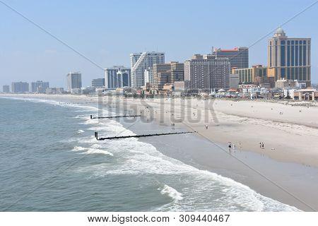 Atlantic City, Nj - May 19: Beach In Atlantic City, New Jersey, As Seen On May 19, 2019. Atlantic Ci