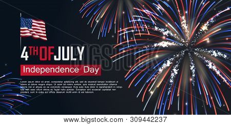 Fourth Of July Happy Independence Day Horizontal Banner. Usa Day Celebration Flyer With Realistic Da