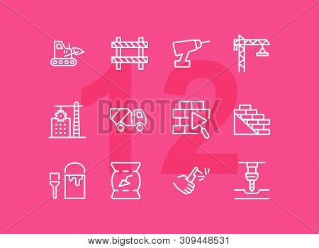 Building Line Icons. Set Of Line Icons On White Background. Building Blocks, Cement, Truckload. Cons