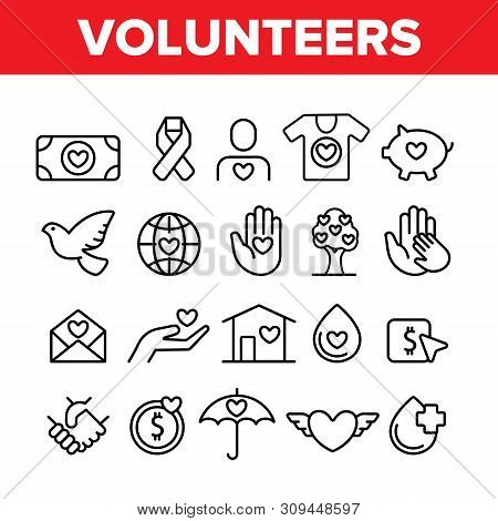 Volunteers, Charity Vector Thin Line Icons Set. Volunteering, Charitable Organizations Logo Linear P