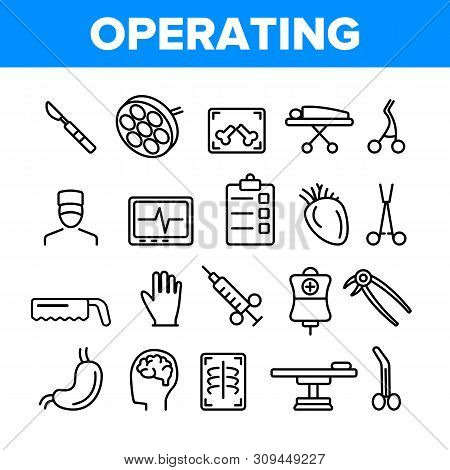 Operating Instruments Vector Thin Line Icons Set. Operating Tools, Surgery Equipment Linear Pictograms. Sterile Scalpel, Scissors, Grasping Forceps. Health Monitoring Equipment Contour Illustrations poster