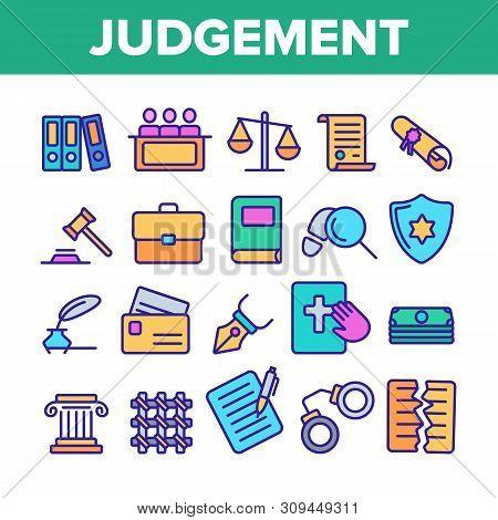 Judgement, Court Process Vector Thin Line Icons Set. Judgement, Trial Procedure Linear Pictograms. L