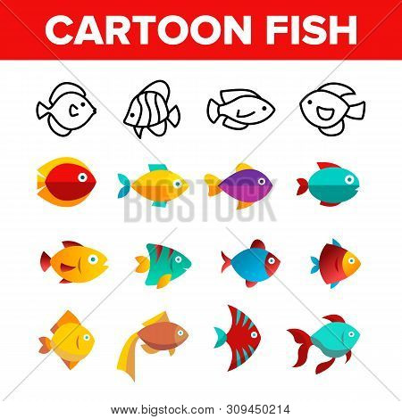 Fish, Exotic Species Vector Thin Line Icons Set. Cartoon Fish, Aquarium And Sea Creature Linear Pict