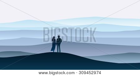 Loving Couple Silhouette , A Man And A Woman Are Looking At The New Year Goals. Mountain Landscape M