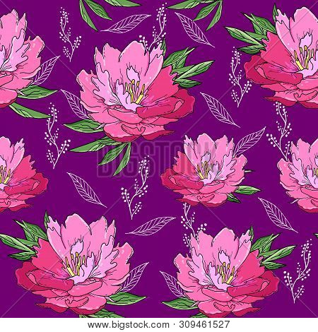Seamless Pattern With Pink Peony Flowers And Leaves.