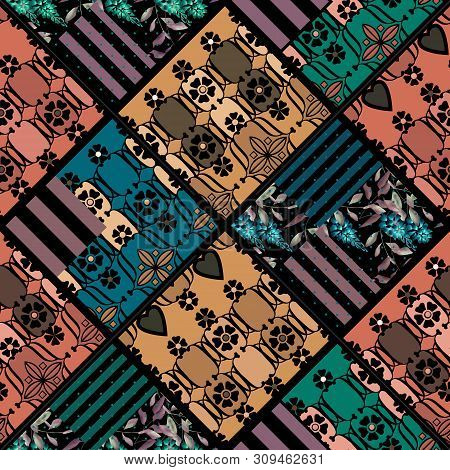 Seamless Patchwork Quilt Patches Elements Vintage Retro Pattern Background