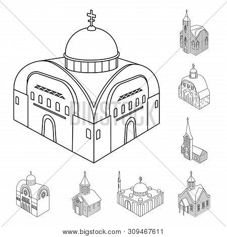 Isolated Object Of Architecture And Building Sign. Set Of Architecture And Clergy Vector Icon For St