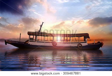 Boat At Sea During Sunset Under Cloudy Sky