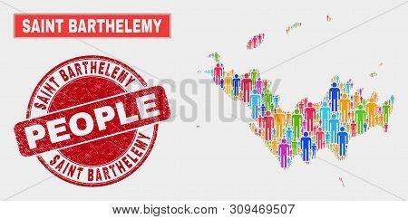 Demographic Saint Barthelemy Map Illustration. People Colorful Mosaic Saint Barthelemy Map Of Guys,
