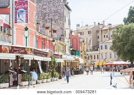 Rovinj, Croatia, Europe - September 2, 2017 - Tourists In The Streets Of Rovinj