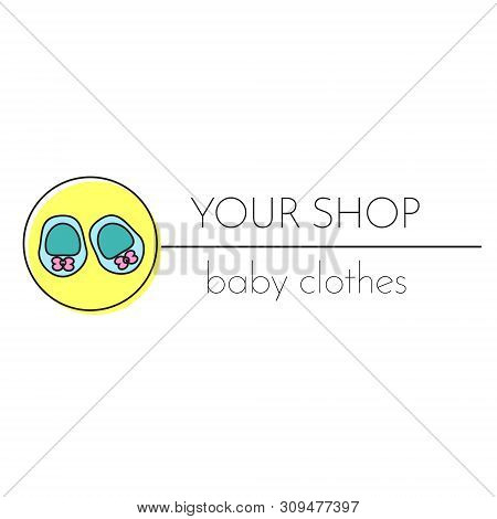 Baby Shop Logo Template. Booties. Sign, Label For Children And Kids Center, School And Other Design