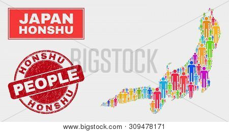 Demographic Honshu Island Map Illustration. People Bright Mosaic Honshu Island Map Of Persons, And R