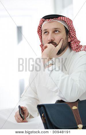 Portrait of worried arabic businessman