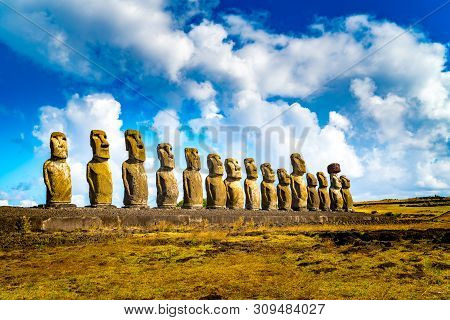 The 15 Moais At Ahu Tongariki In Rapa Nui National Park On Easter Island In Chile