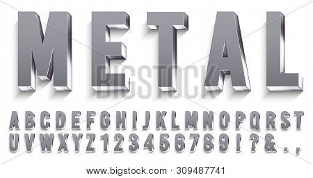 Realistic Metal Font. Shiny Metallic Letters With Shadows, Chrome Text And Metals Alphabet. Credit C